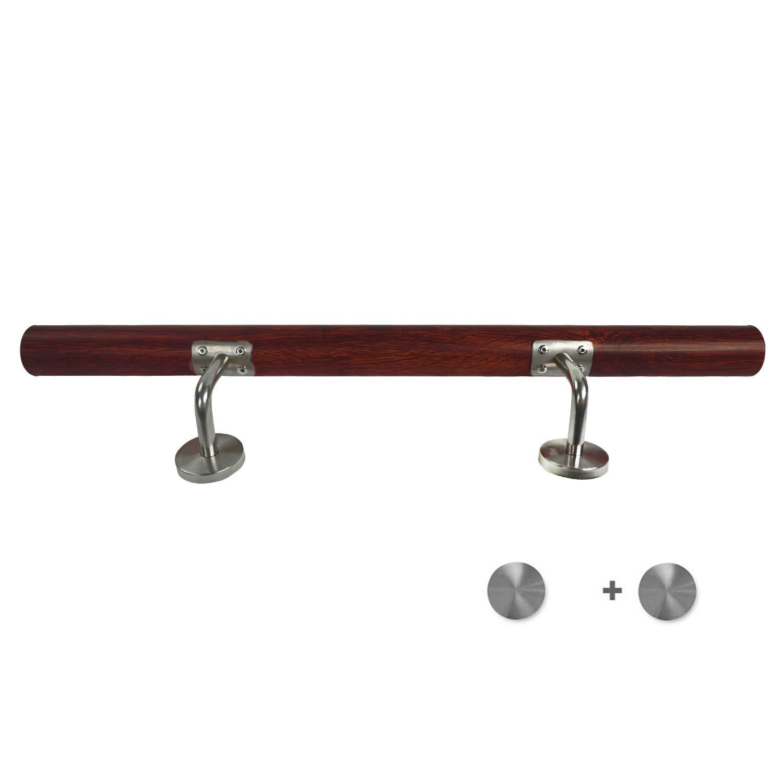 150cm, Colore scuro parapetti per scale interne ed esterne a parete MCTECH corrimano in acciaio inox legno grano 150cm balconi supporto da parete