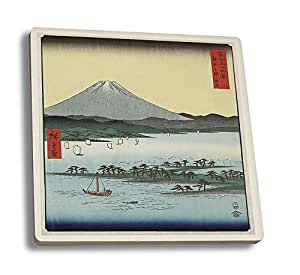 Pine Beach at Miho in Suruga with View of Mount Fuji Japanese Wood-Cut Print (Set of 4 Ceramic Coasters - Cork-backed, Absorbent)