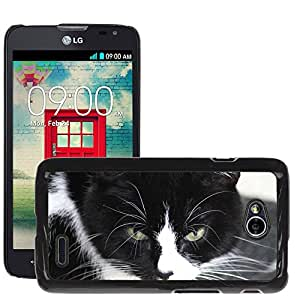 Hot Style Cell Phone PC Hard Case Cover // M00130161 Domestic Cat Black And White Cat // LG Optimus L70 MS323