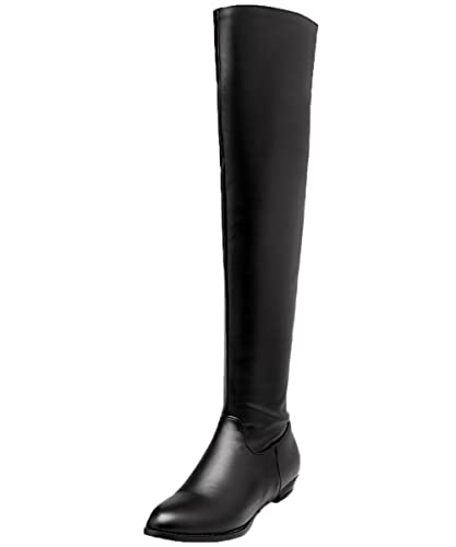 ccdd7caa8 BIGTREE Over The Knee Boots by Women Winter Elegant Comfortable Flat Thigh  High Boots Black 1.5