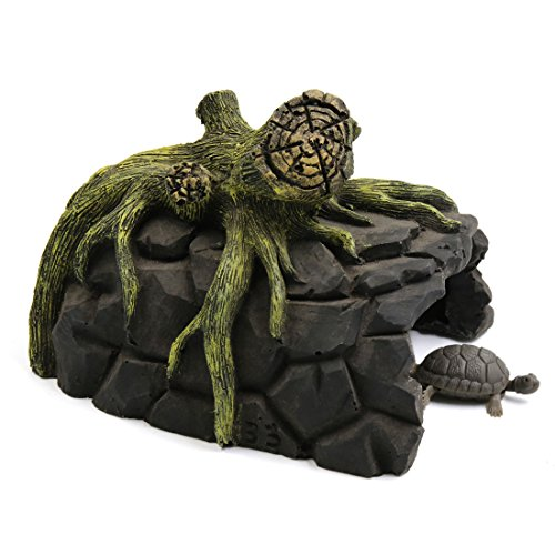 uxcell Resin Tree Root Design Turtle Cave Hiading Spot Shelter Ornament for Aquarium