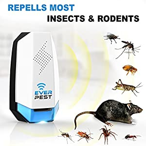 Ever Pest Ultrasonic Mosquito Pest Repellent (4 Pack) - 2018 Insect Rodent Control Plugin Repeller. Repels Ants, Roaches, Fleas, Rats, Bugs, Fruit Fly, Cockroaches and More