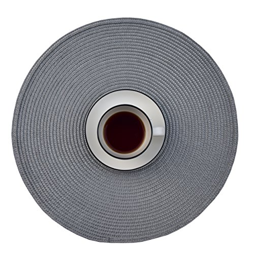 Ecoshome Round Placemats Braided Edge Table Mats for Dining Table Kitchen Table (6, Grey)