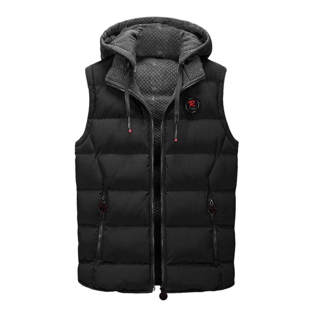 FEDULK Men's Casual Hooded Vest Winter Warm Sleeveless Zipper Double-Sided Jacket Hoodies Coat Outwear(Black, X-Large) by FEDULK