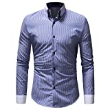 HTHJSCO Men's Slim-Fit Long-Sleeve Shirt, Men's Autumn Winter Casual Striped Print Long Sleeve Button T-Shirt Top Blouse (Blue, M)