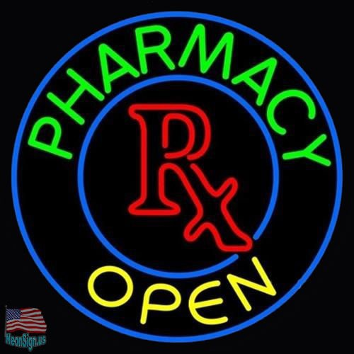 "Desung New 32""x32"" Pharmacy Open RX Clinic Medical Store Neon Sign (Multiple Sizes Available) Man Cave Signs Sports Bar Pub Beer Neon Lights Lamp Glass Neon Light DX218"