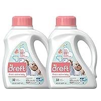 Dreft Stage 2: Active Hypoallergenic Liquid Baby Laundry Detergent (HE), 50 O...