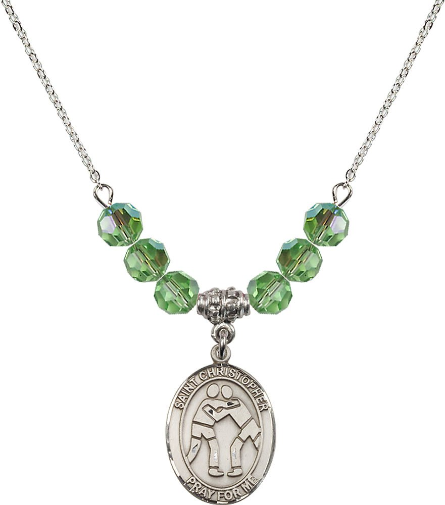 Rhodium Plated Necklace with 6mm Peridot Birthstone Beads & Saint Christopher/Wrestling Charm.
