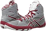 ASICS Men's Cael V7.0 Wrestling Shoe, Aluminum/Burgundy/White, 10 Medium US