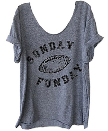 Women Funny Letter Printed Off Shoulder Sunday Funday Football T-Shirt Casual Short Sleeve Blouse (US L/Tag XL, - Tee Womens Football Shirt