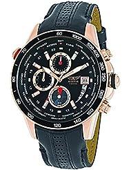 AVIATOR Chronograph Quartz Watch - Casual Rose Gold Case Sport Black Leather Strap - Analog Pilot Mens Aviators...