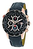 AVIATOR Men's Quartz Chronograph World Time Watch with Rose Gold Stainless Steel Case WR 100m and Black Leather Strap AVW8974G139