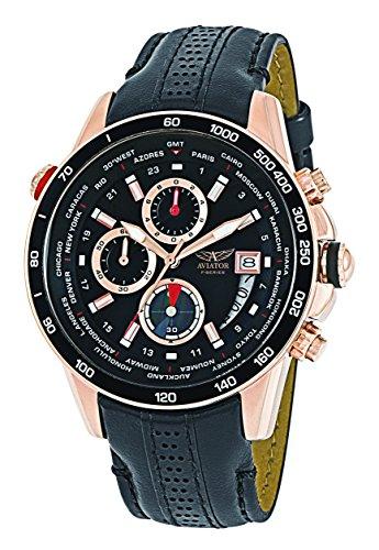 Aviator Chronograph Quartz Watch - Casual Rose Gold Case Sport Black Leather Strap - Analog Pilot Mens Aviators Flight Wrist Watch
