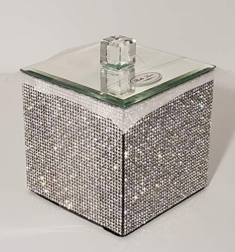Bella Lux Luxury Rhinestone Cottonball Canister Fully Rhinestone Mirrored -