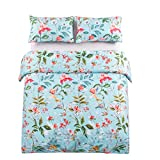 Leadtimes King Flower Duvet Cover Set, Girls Floral Leaf Sky Blue Bedding Set with Soft Lightweight Microfiber 1 Duvet Cover and 2 Pillowcases New Edition (King, Blue Floral)