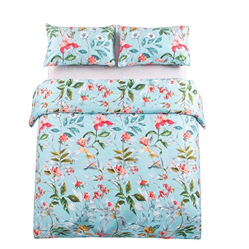 Leadtimes King Flower Duvet Cover Set, Girls Floral Leaf Sky Blue Bedding Set with Soft Lightweight Microfiber 1 Duvet Cover and 2 Pillowcases New Edition (King, Blue Floral) by Leadtimes