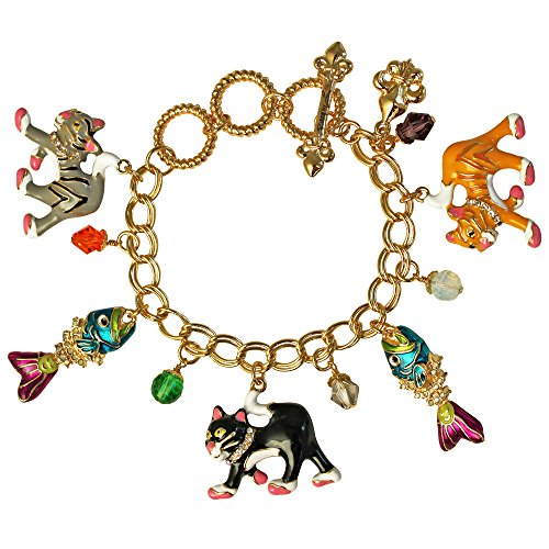 Ritzy Couture Alley Cat & Fishbone Charms Adjustable Toggle Bracelet (Goldtone)