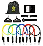 11pc Resistance Bands Set,Exercise Bands,Fitness Bands,Includes 5 Exercise Tubes,1 Door Anchor,2 Ankle Straps,2 Handles,1 Bag,For Resistance Training,Fat Burning Resistance Rope,Workout Bands