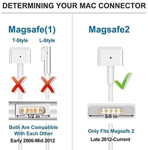 Replacement 85W Magsafe 2 T Shape Connector Power Adapter for Mac Book 13 15 and 17 TOPSELL/® Compatible With Macbook pro Charger Mid 2012- Mid 2015 Models