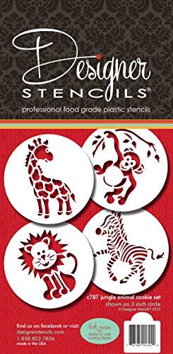 Designer Stencils C787 Jungle Animals Cookie, Beige/Semi-Transparent