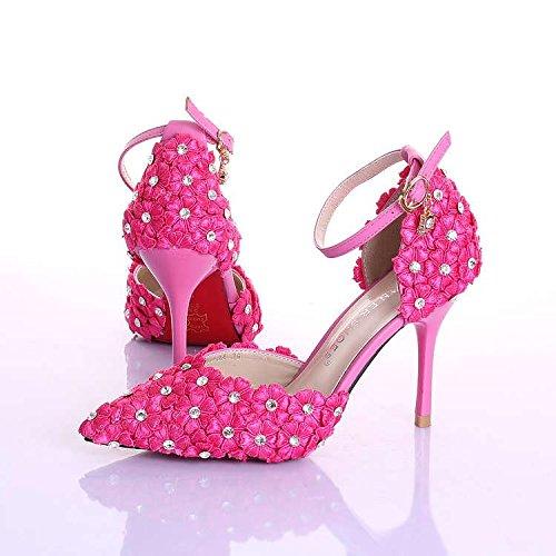 XIE Zapatos de la boda de las mujeres / dama de honor y novia / Rhinestones / Flor / tacón de aguja / dedo punta / sandalias de tacón alto / blanco Pink