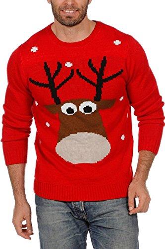 Weihnachtspullover Rentier Ugly Christmas Sweater Pullover Weihnachten Rot S-XXL