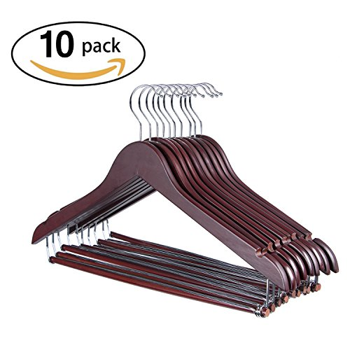 Joy Home Wooden Suit Hangers with Locking Bar, Sturdy Wooden Coat Hangers, 10 Pack