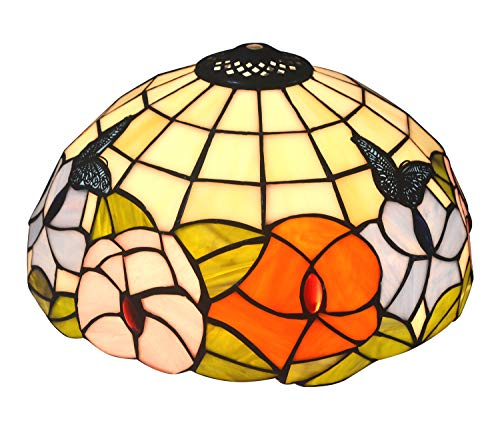 Stained Glass Shade - NOSHY Premium Tiffany Style Butterfly and Flower Stained Glass Table Replacement Lamp Shade,11-7/8