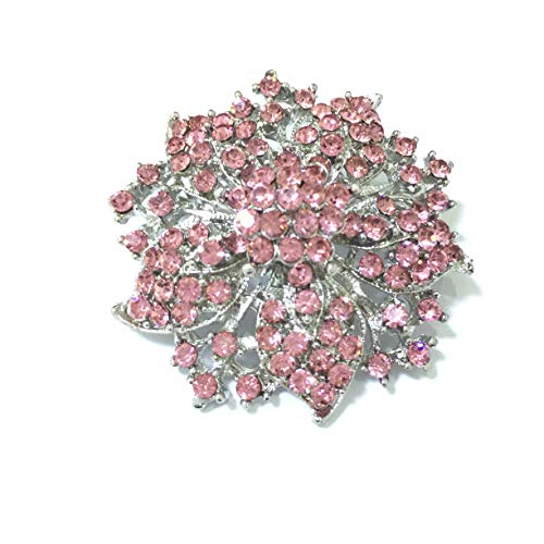 (Ezing Fashion Jewelry Beautiful Silver Plated Rhinestone Crystal Brooch Pin for Woman (Light Pink))