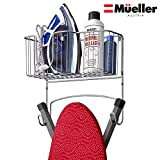 ironing board and iron rack - Mueller Ironing Board Hanger Wall Mount with Large Storage Basket and Hooks. Organizer for Laundry Rooms, Heat - Resistant, Holds Iron, Ironing Board and Spray Bottles
