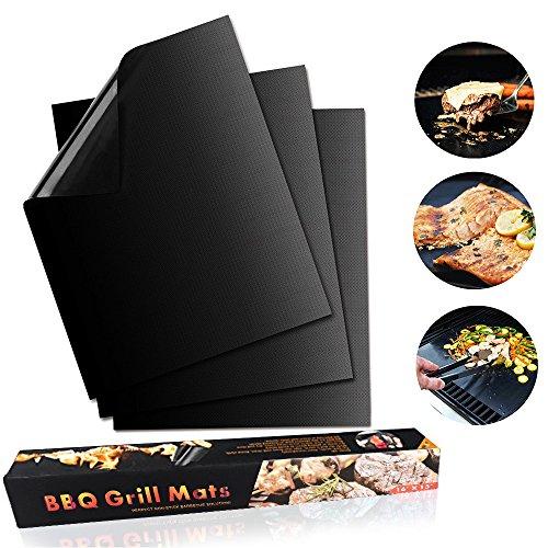 Grillmatte 3er Set zum Grillen und Backen, Antihaftbeschichtung Extra Groß und Langlebig, Ideal für Holzkohle Grill, Elektronisches Grill, Backofen, Dampf-Backofen, Mikrowelle etc