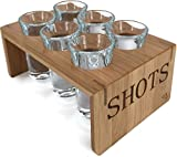 Shot Glass Set (6 Glasses) in Stylish Vintage Bamboo Shot Glass Holder – 1 Ounce Glasses – Glassware and Shot Stand – Professional Look – Pro Or Amateur Bartenders – Best Gift Ideas (Crystal Clear)