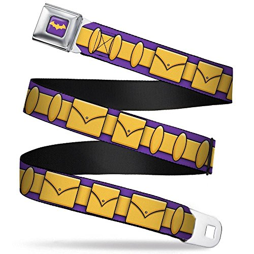 Bat Logo Full Color Purple/Gold Seatbelt Belt - Batgirl Utility Belt Purple/Gold Webbing REGULAR]()