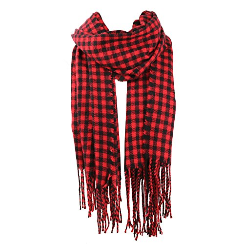 SOJOS Womens Plaid Scarf Large Long Blanket Check Wrap Shawl with Tassel SC315 with Red&Black Plaid