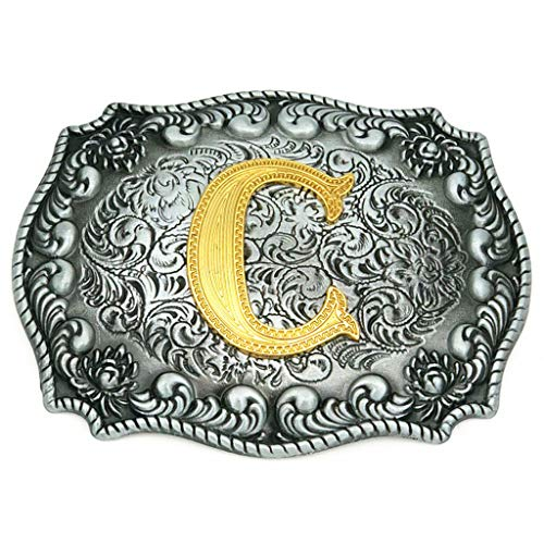 (Upgrade Western Belt Buckle Initial Letter ABCDEFG to Y- Cowboy Rodeo Large Gold Silver Metal Buckles for Men Women)