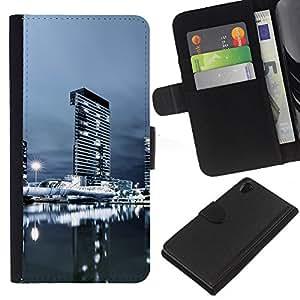 KingStore / Leather Etui en cuir / Sony Xperia Z2 D6502 / Urbana Noche Paisaje urbano