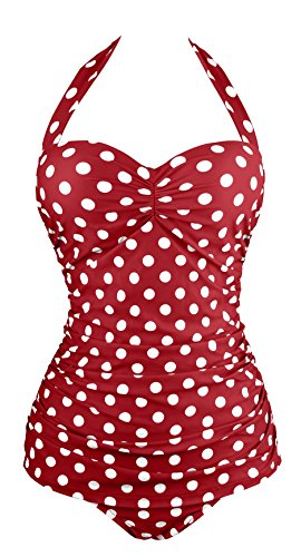 Angerella Retro Polka Dot One Piece Pin Up Monokinis Swimsuit (SST035-W3-5XL)