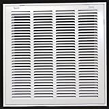 16'' X 16 Steel Return Air Filter Grille for 1'' Filter - Removable Face/Door - HVAC DUCT COVER - Flat Stamped Face - White [Outer Dimensions: 18.5''w X 18.5''h]