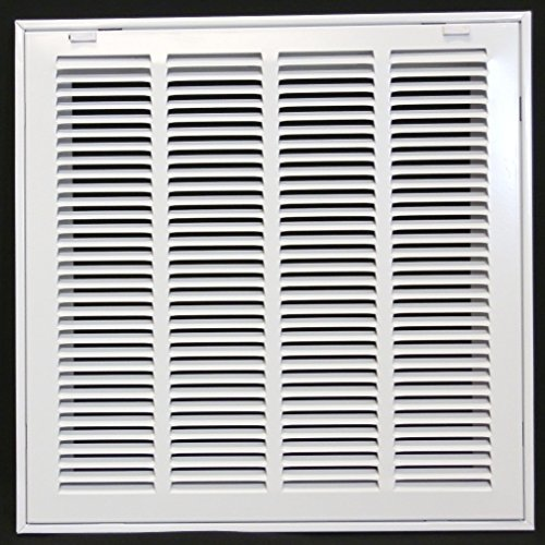 16 X 16 Steel Return Air Filter Grille for 1 Filter - Removable Face/Door - HVAC DUCT COVER - Flat Stamped Face - White [Outer Dimensions: 18.5w X 18.5h]