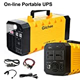 Solar Generator, Gichee Portable UPS On-line Uninterrupted Power Supply Pure Sine Wave Power Inverter 500W (Peak 1000W) 288WH Lithium Backup Battery Generator Solar Generator with USB DC AC Outlet