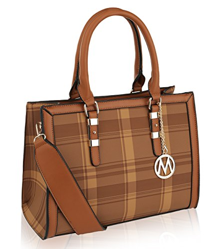MKF Collection by Mia K. Farrow Miley Plaid Satchel (Brown)