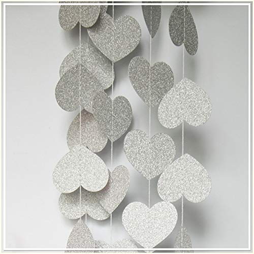 - INKBLOO 4M Heart dots Paper Shiny Gold Silver red Flag Party Bell Garland Decoration Banner Bunting for Birthday Wedding Event