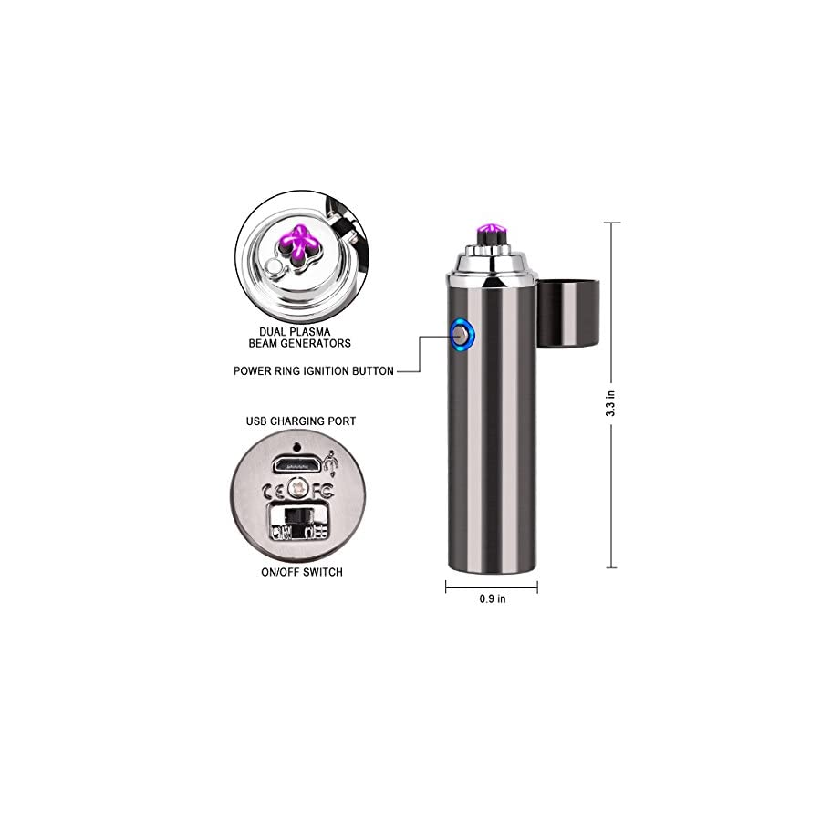 Homate Dual Arc Rechargeable Splash and Wind Proof Flameless Butane Free Plasma Beam Lighter with Tobacco Pipe
