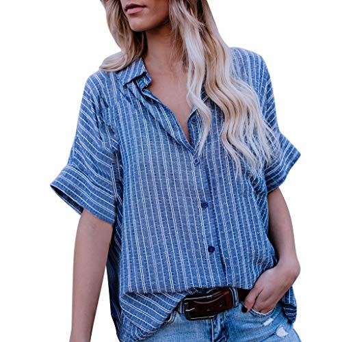 Printed V-Neck Shirt Ladies Fashion Casual top Loose Summer Short-Sleeved Button T-Shirt Shirt MEEYA Blue