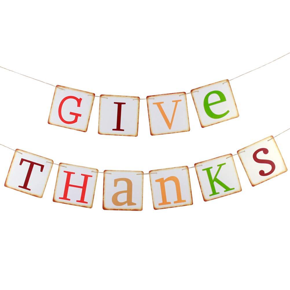 BESTOYARD GIVE サンキューバナー ヴィンテージカード 吊り下げバナー 感謝祭 デコレーション パーティーの記念品   B07GFM9D1W