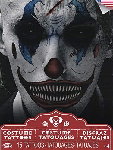 Halloween Realistic Temporary Costume Make Up Tattoo Kit Men or Women - (Scary Clown) - 1 Kit