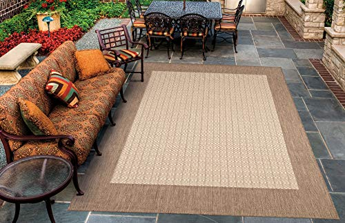 Couristan 1005/3000 Recife Checkered Field Natural/Cocoa Rug, 3-Feet 9-Inch by 5-Feet 5-Inch