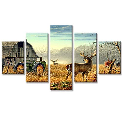 "VIIVEI Deer Elk Moose Animal Cabin Tractors Nature Animals Canvas Wall Art HD Print Landscape Yellow Home Decor Wall Art Painting for Living Room Decor Framed to Hang (60"" Wx32 H, 9)"