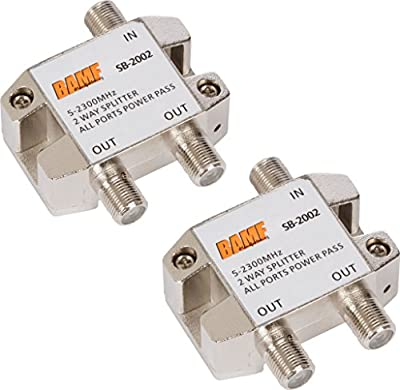 BAMF 2-Way Coax Cable Splitter Bi-Directional MoCA 5-2300MHz (2 Pack)