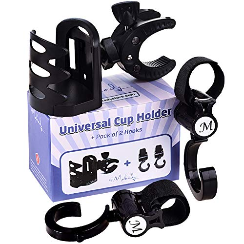 up Holder by Makady | Attachable Drink Holder for Baby Stroller,Bike,Wheelchair,Pushchair | Pack of 2 Hooks for Extra Storage ()